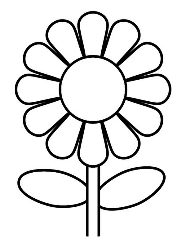 Easy Sunflower Coloring Pages for Preschoolers