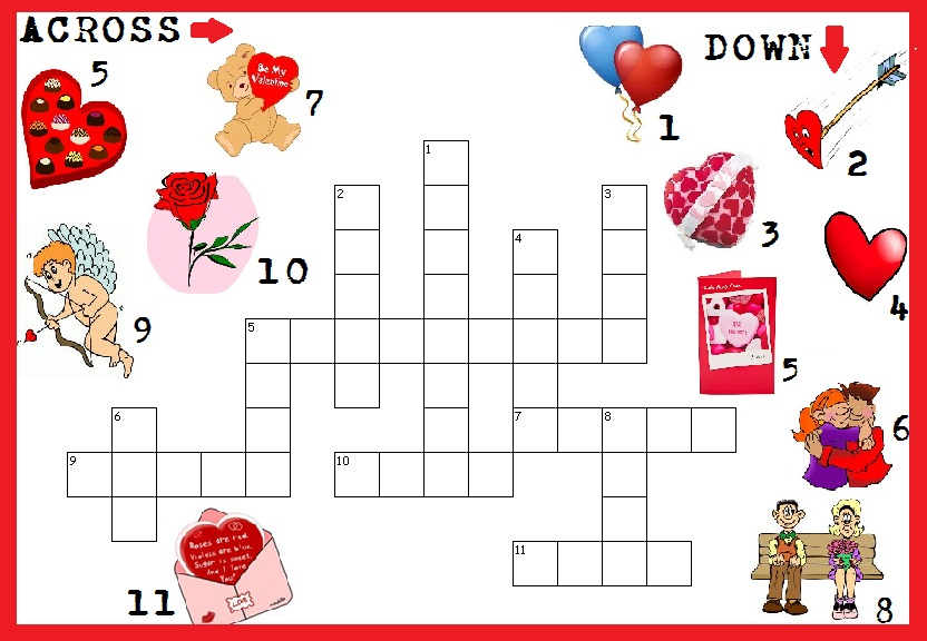 photo relating to Valentine's Day Crossword Puzzle Printable called Valentine Phrase Look and Puzzles coloring.rocks!