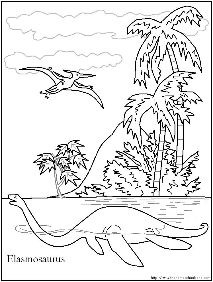 Elasmosaurus Dinosaur Coloring Page