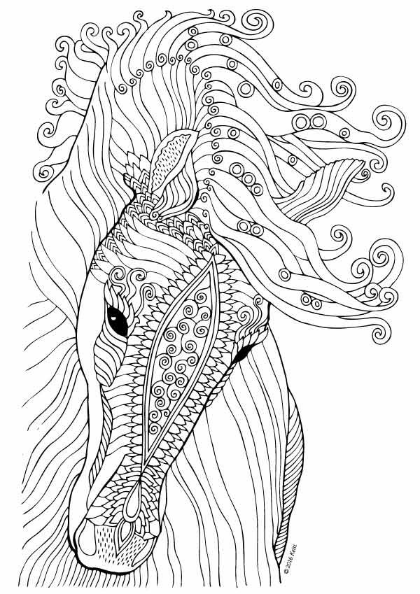 Elegant Horse Coloring Page for Adults