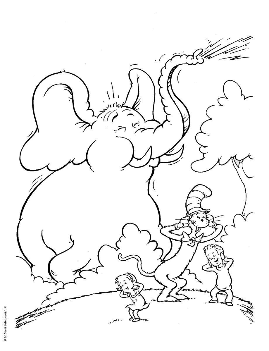 Elephant Cat in the Hat Coloring Pages