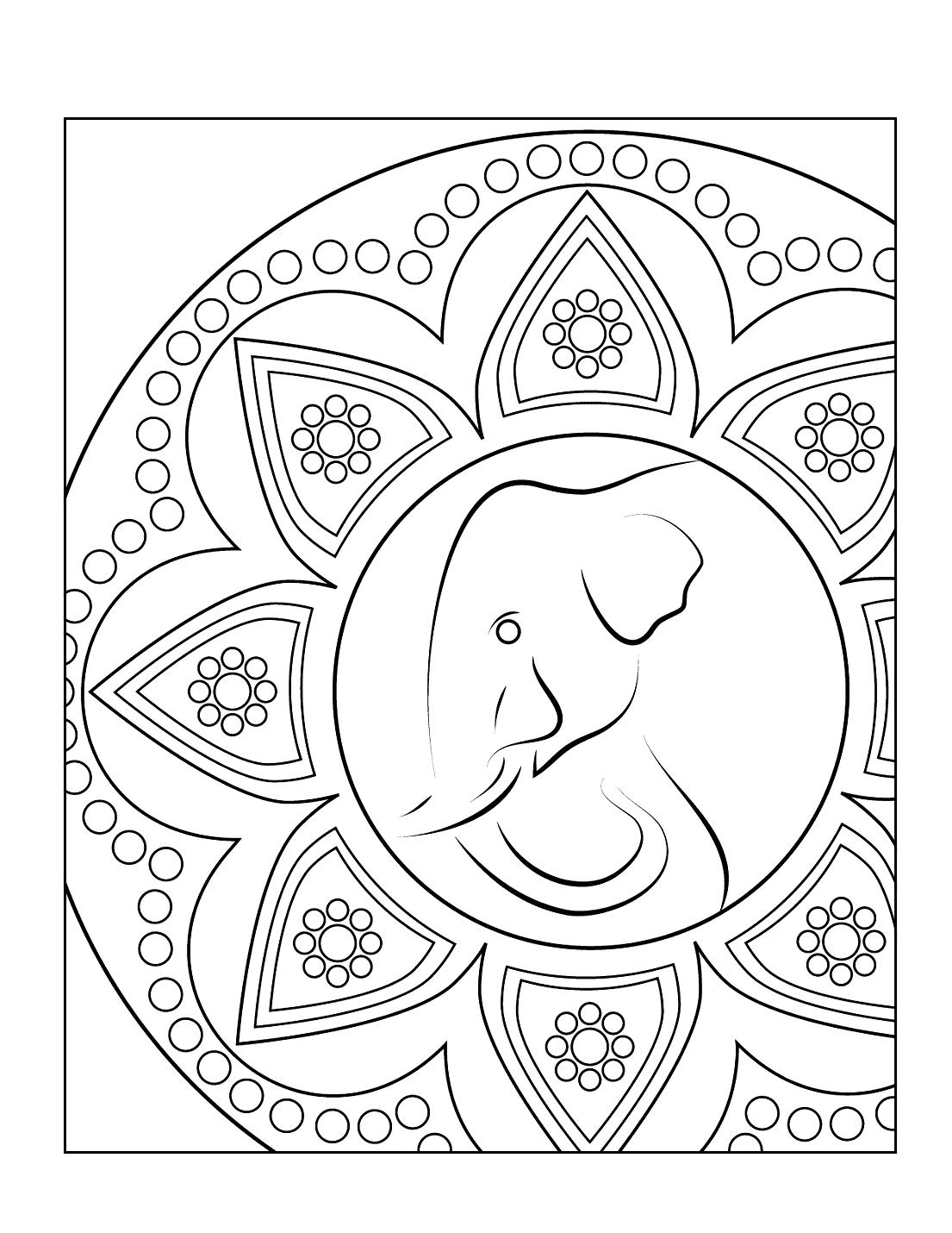 Elephant Rangoli Coloring Page