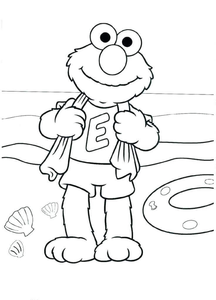 Elmo Beach Coloring Page for Preschoolers