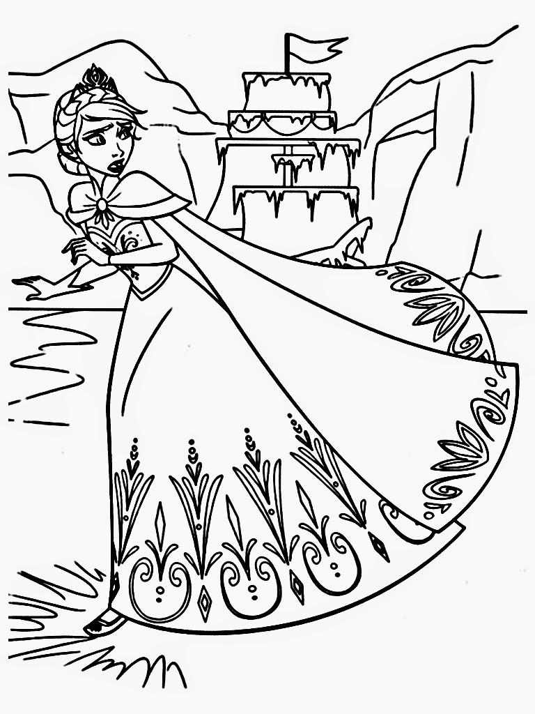 Elsa Runs Away Coloring Page