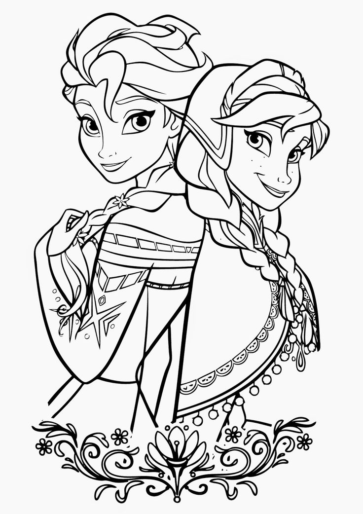 Elsa and Anna Disney Princess Coloring Pages