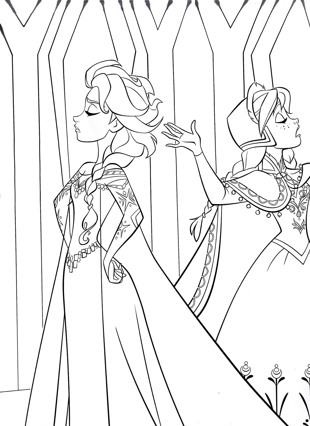 Elsa and Anna Fighting Coloring Page