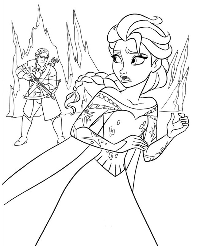 Elsa is Chased Coloring Page