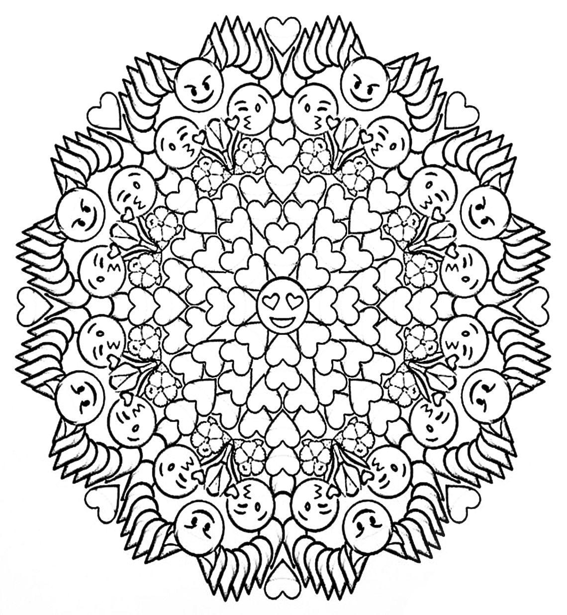 Emoji Mandala Coloring Page