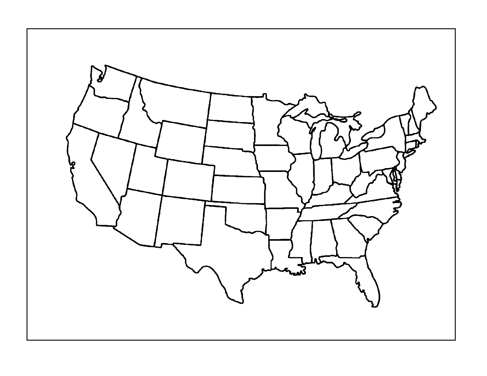 Empty Us Map Sheet