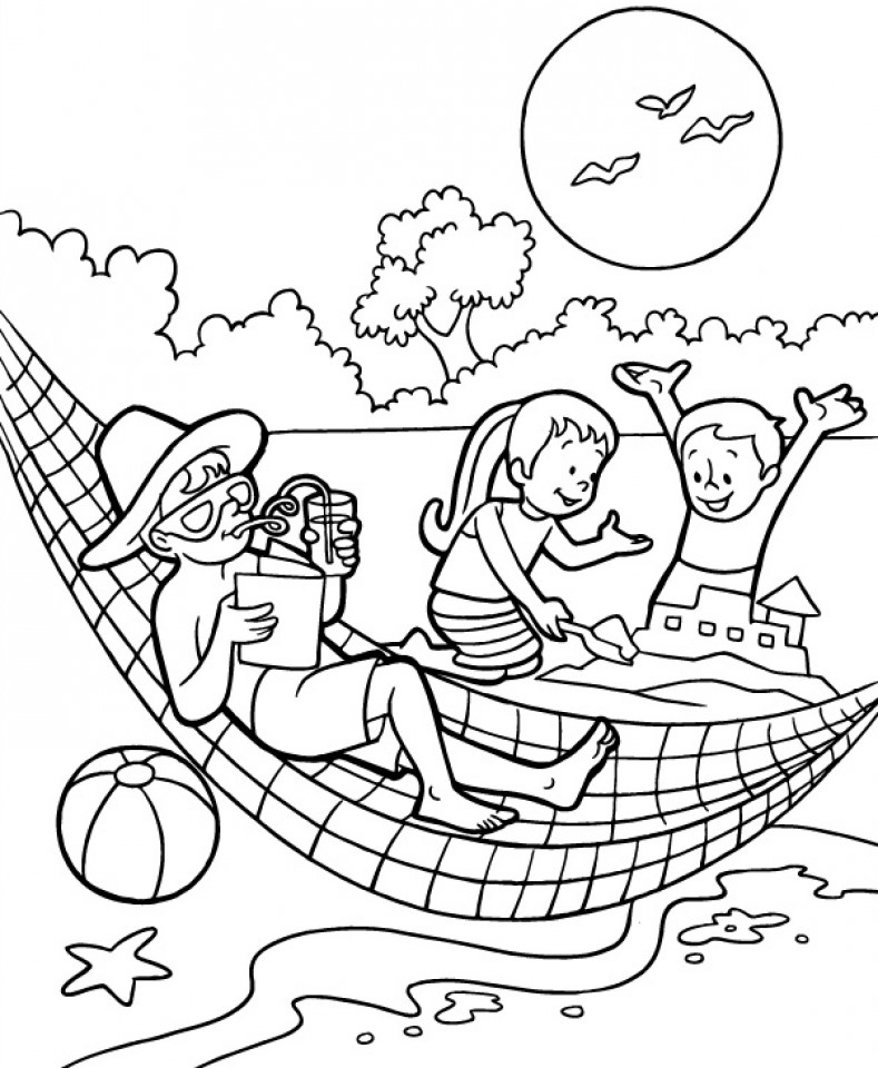 Enjoying Summer Coloring Pages