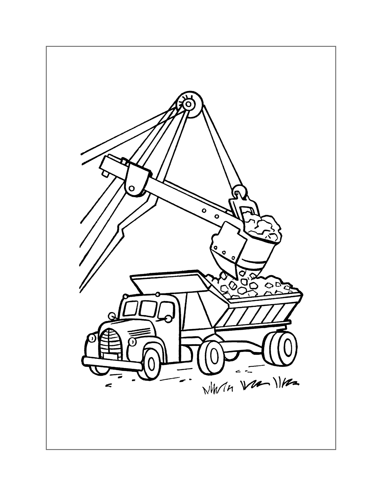 Excavator And Dump Truck Coloring Page