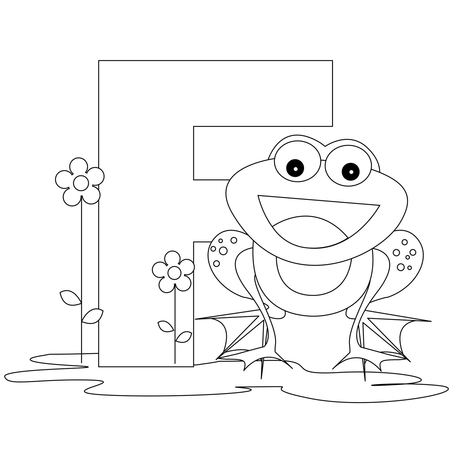 F for Frog Kindergarten Coloring Page
