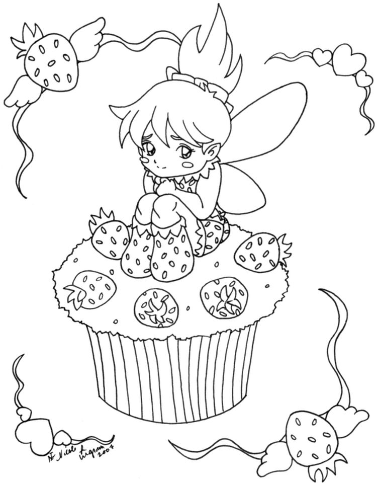Fairy Cupcake Coloring Pages