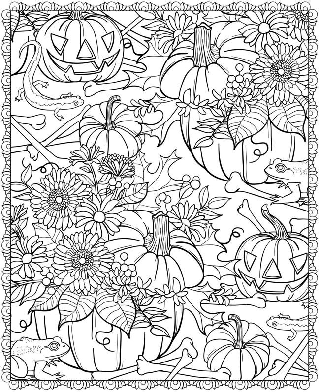 Fall Pumpkin Design Coloring Page