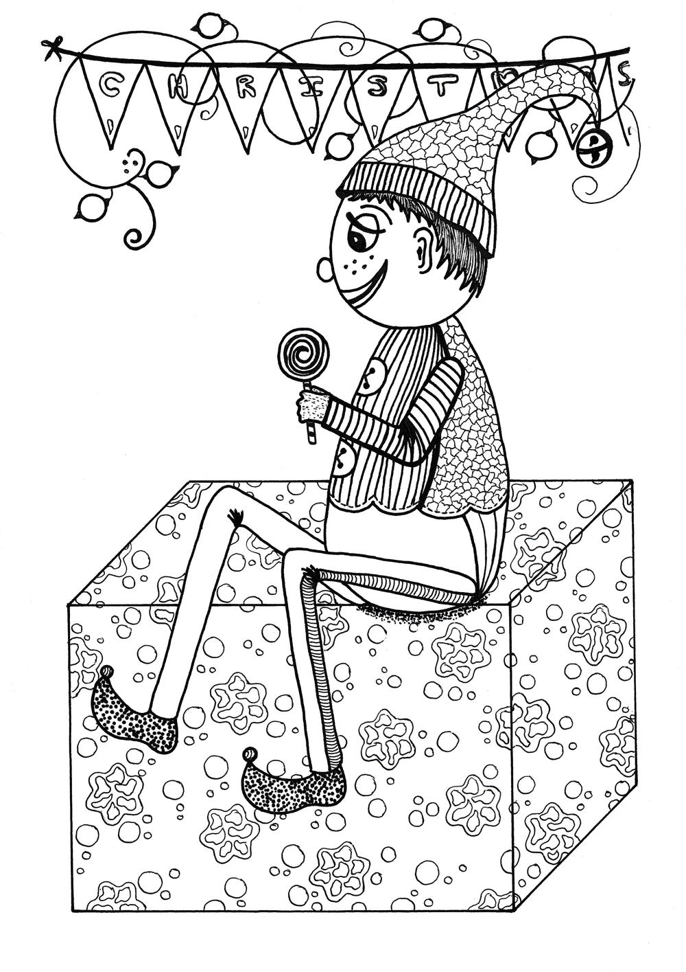 Fancy Christmas Elf Coloring Page