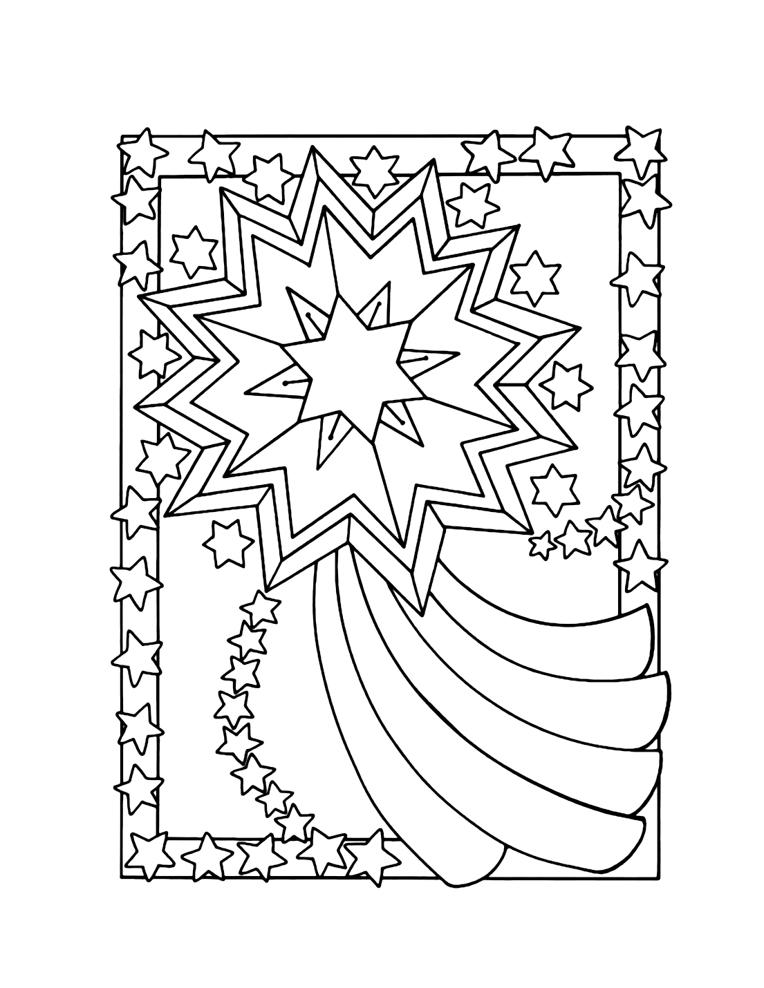 Fancy Stars Coloring Page