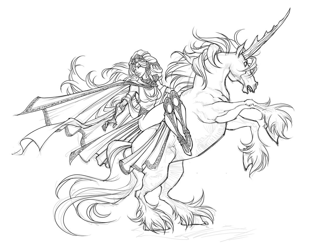 Fantasy Unicorn Art Coloring Page
