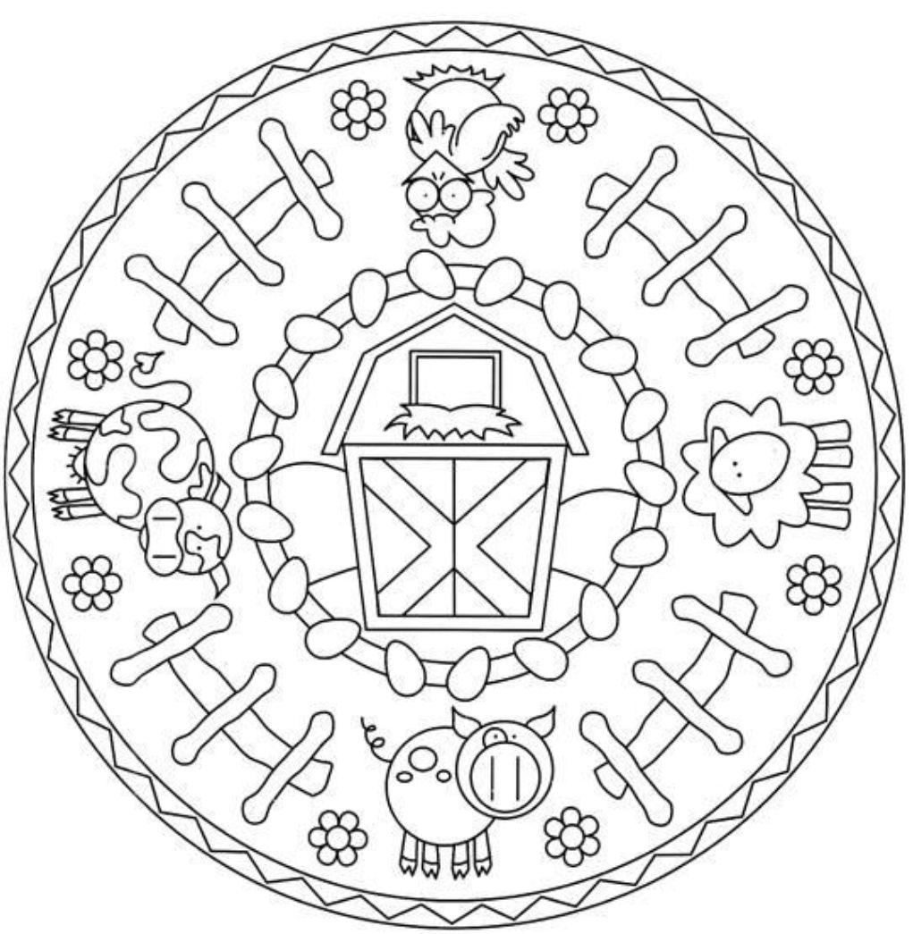 Farm Animal Mandala for Kids