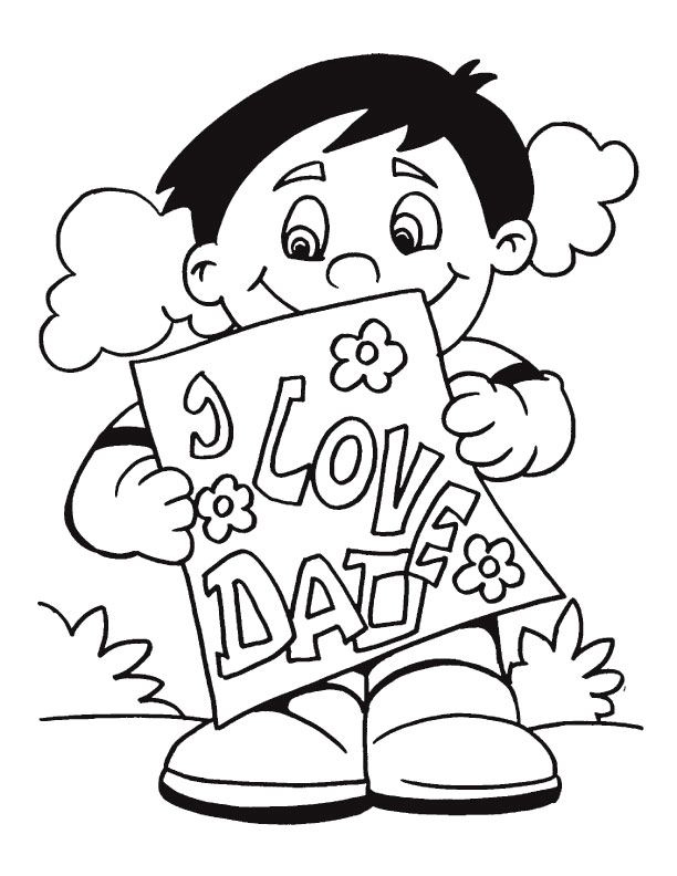Fathers Day from Boy Coloring Page