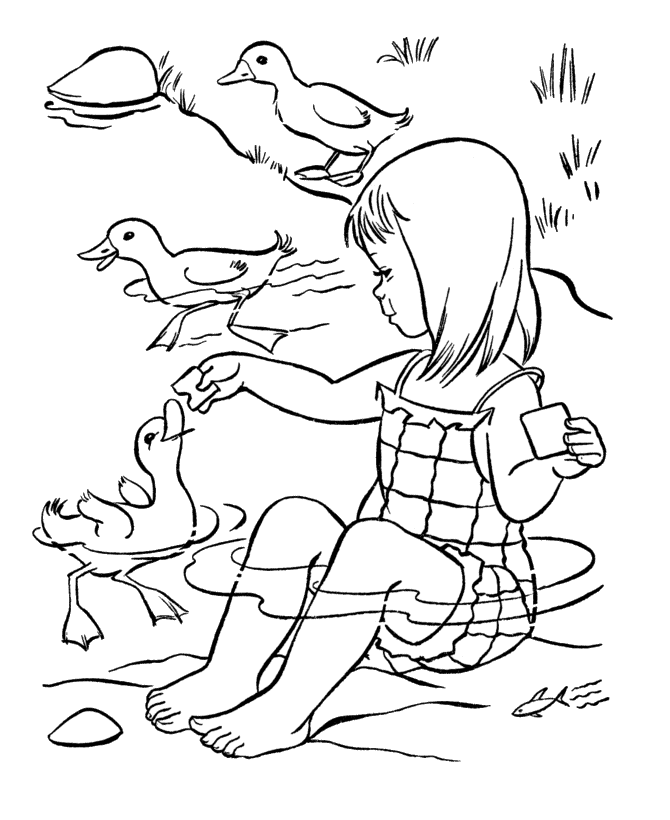 Feeding the Ducks Coloring Page