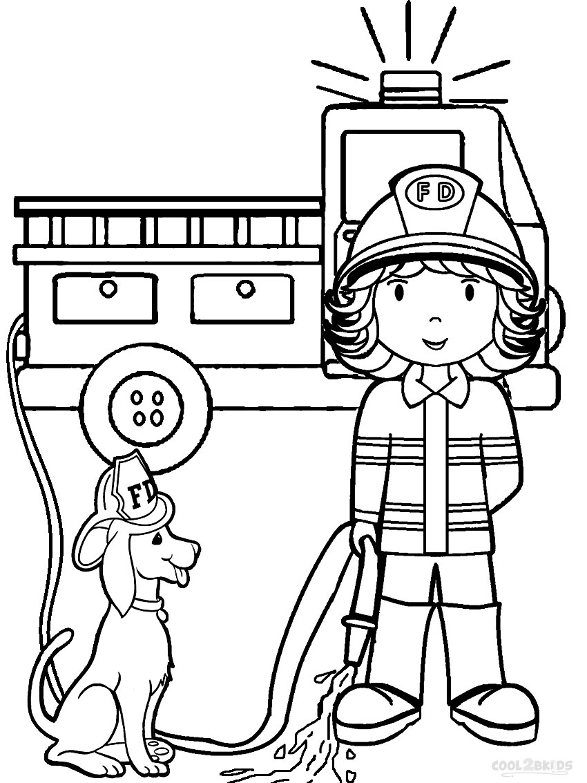 FREE Firefighter Coloring Pages | 1133x850