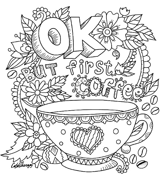 First Coffee Coloring Page