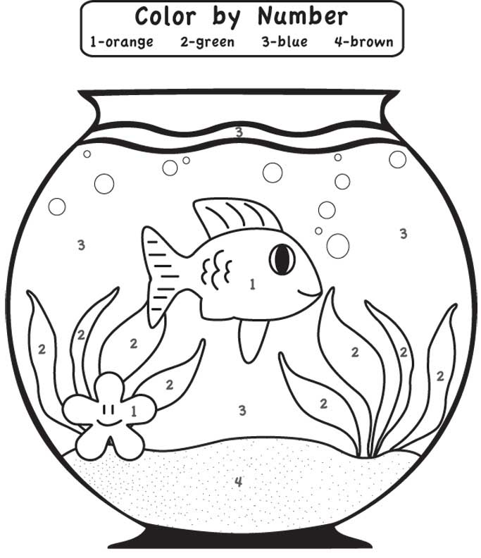 Fish Color by Number for Preschool