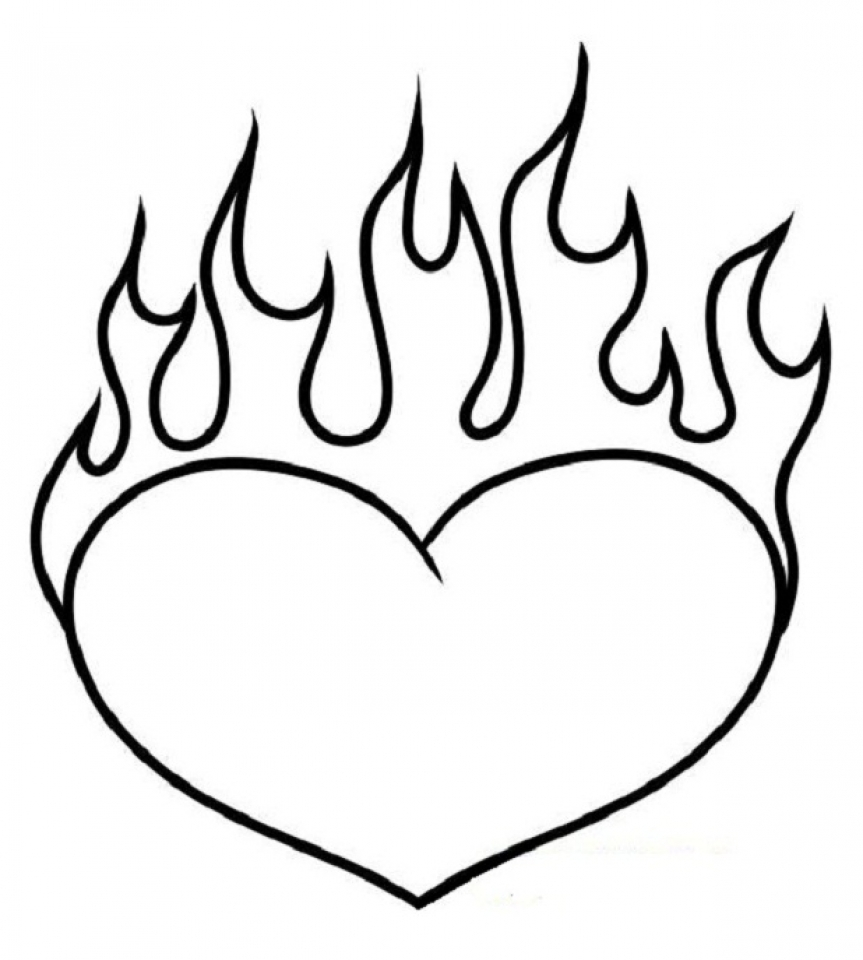 Flaming Heart Coloring Pages