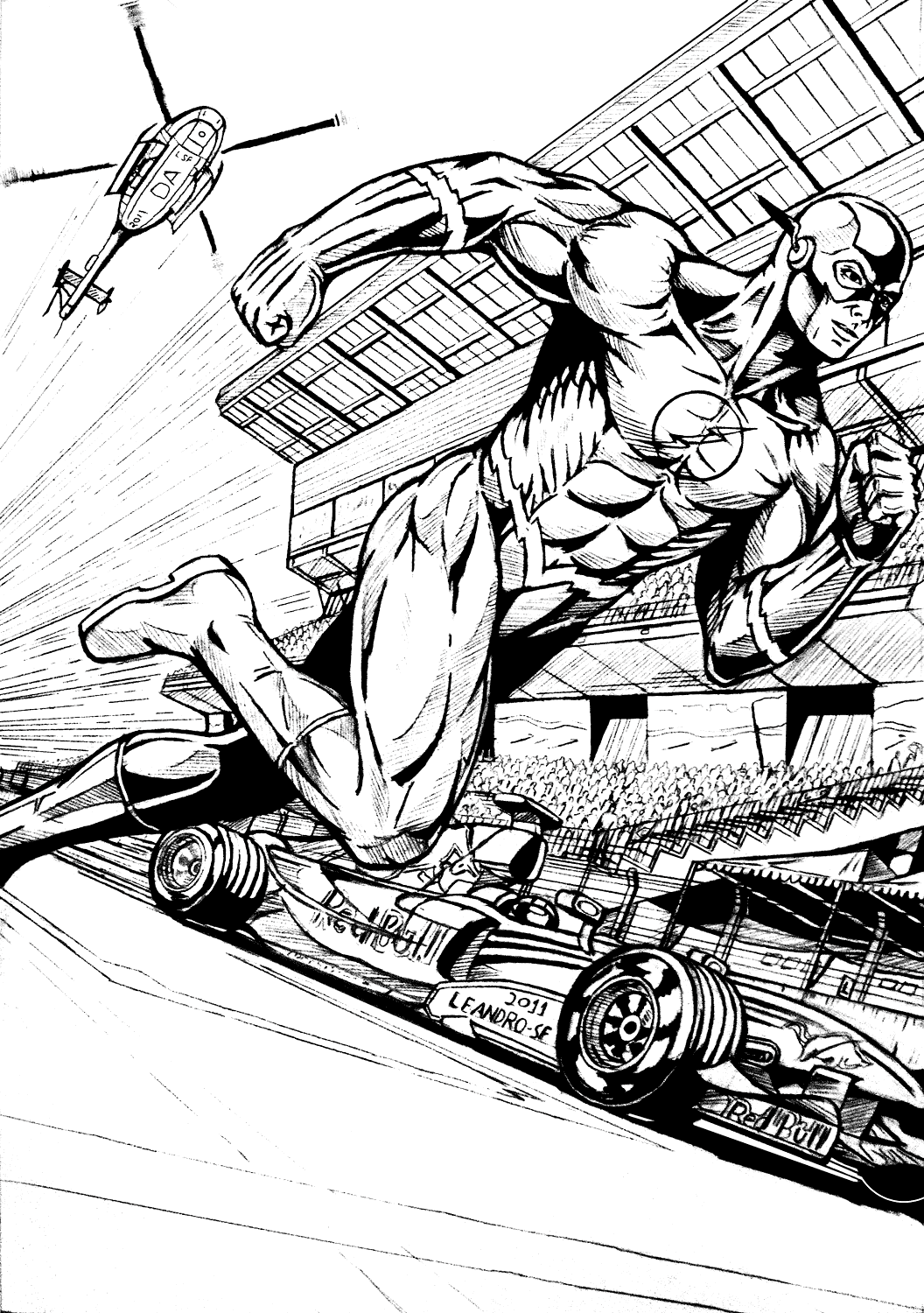 Flash Comic Book Art Coloring Page