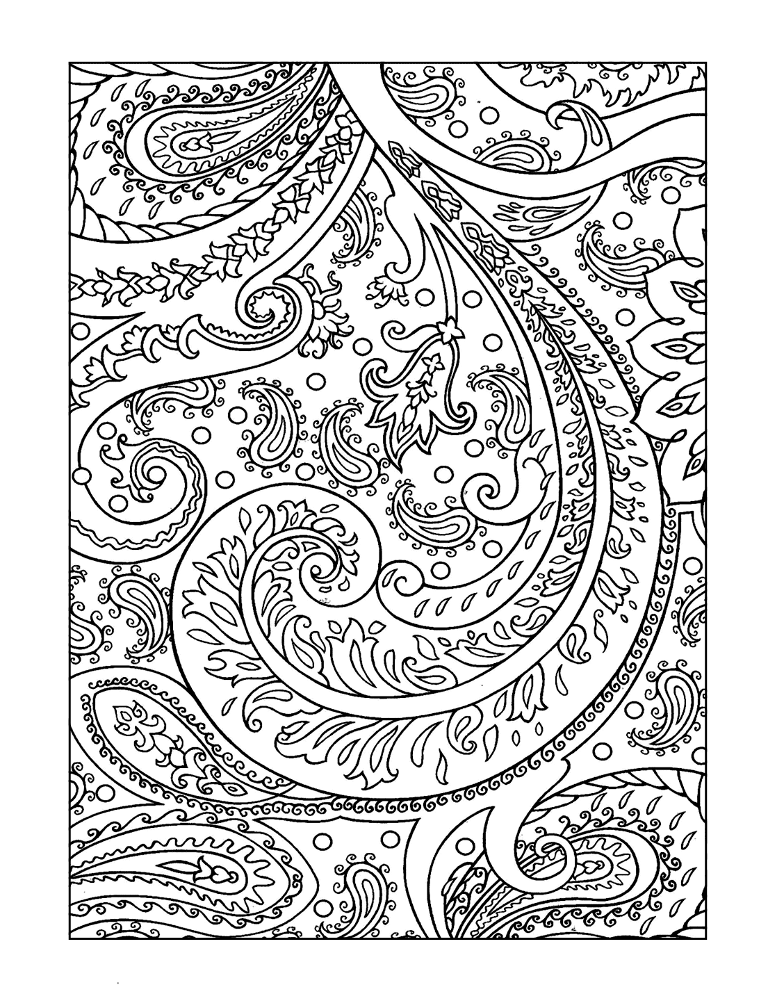 Floral Paisley Design Coloring Page