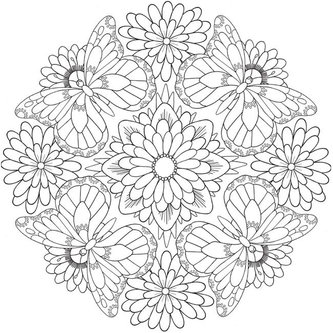 Flower Butterfly Pattern Mandala Coloring Pages