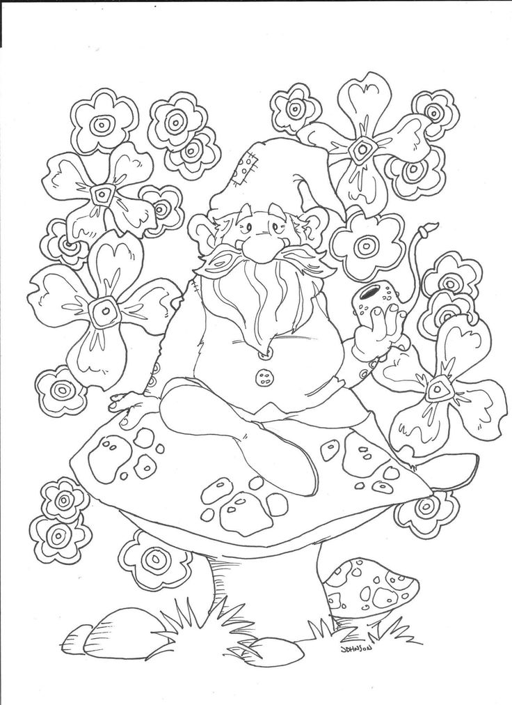 Flower Garden Gnome Coloring Page