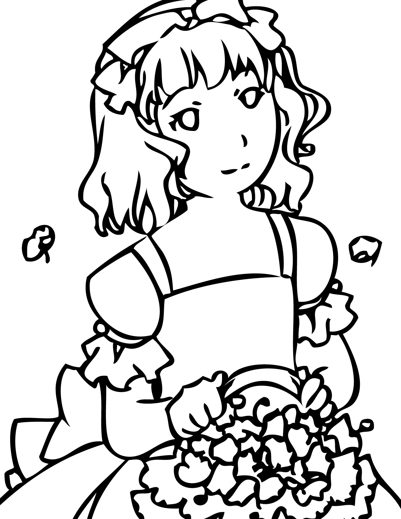 Flower Girl at Wedding Coloring Page