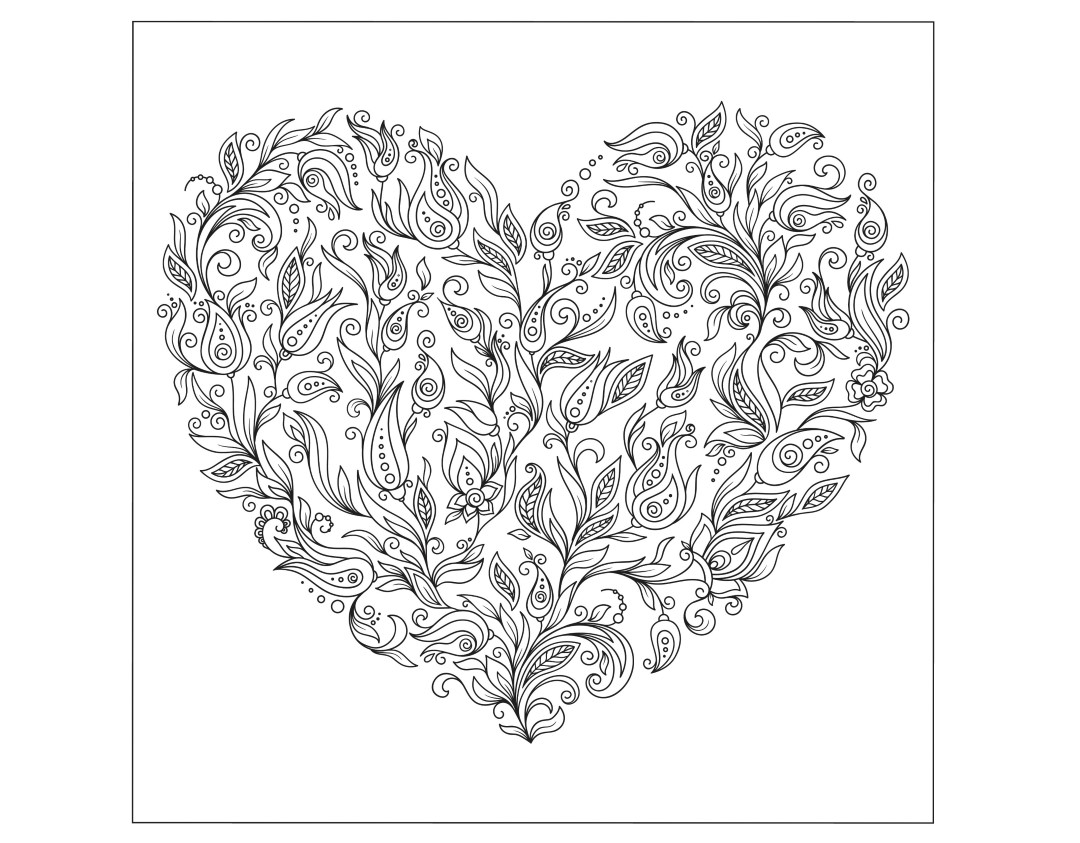 Flower Heart Valentines Day Coloring Page for Adults