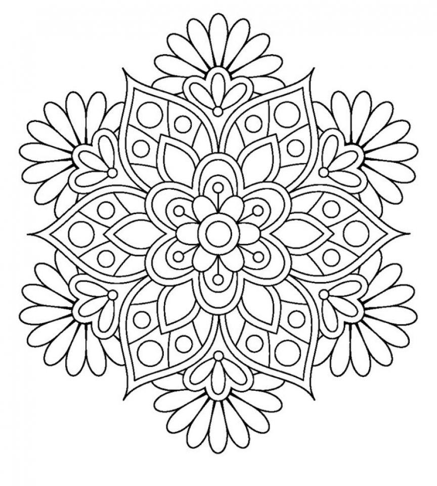 Flower Mandala Coloring Pages Coloring Rocks