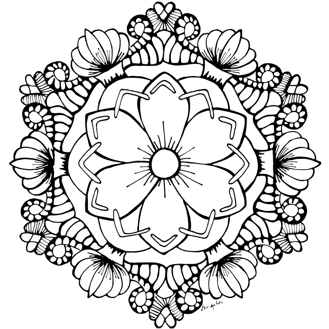 Flower Mandala Coloring Page to Print