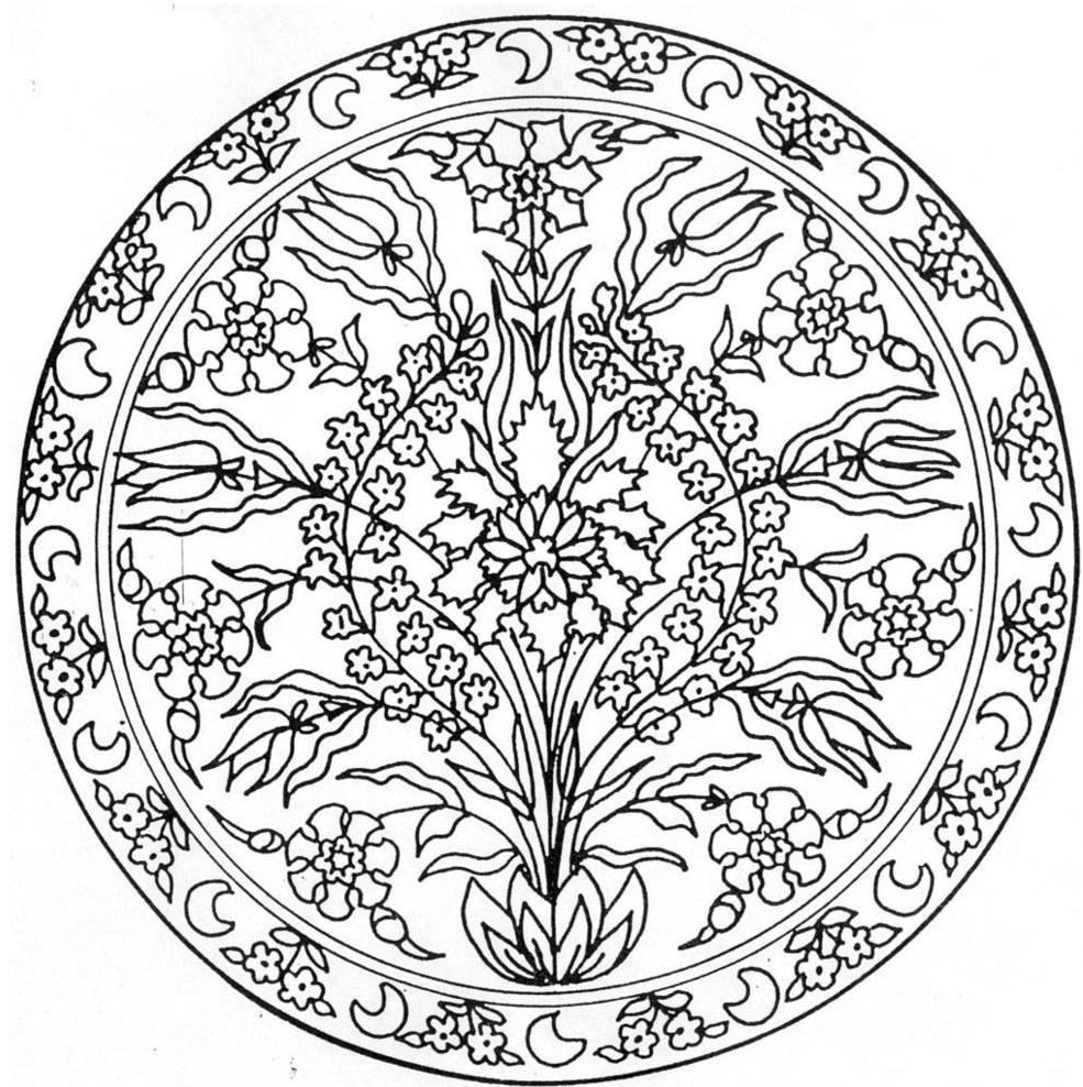 Flower Mandala Drawing for Coloring