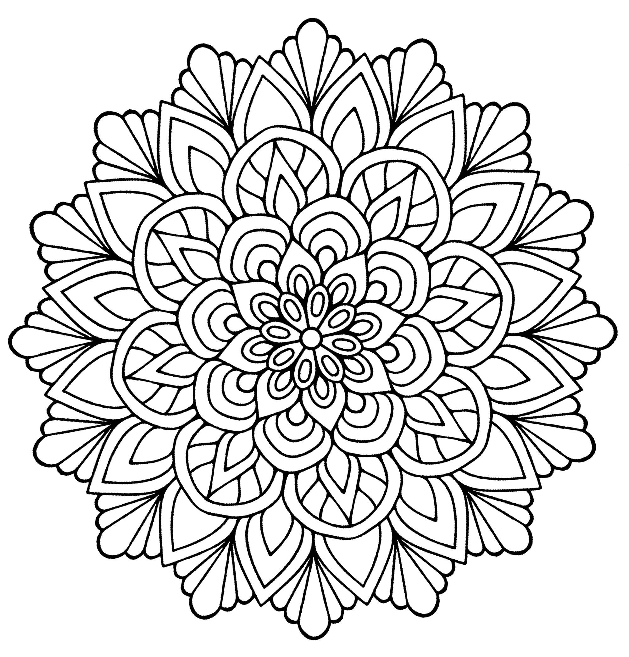 Flower Mandala Printable Coloring Pages