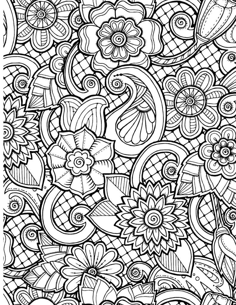 Flower Pattern Coloring Page for Adults