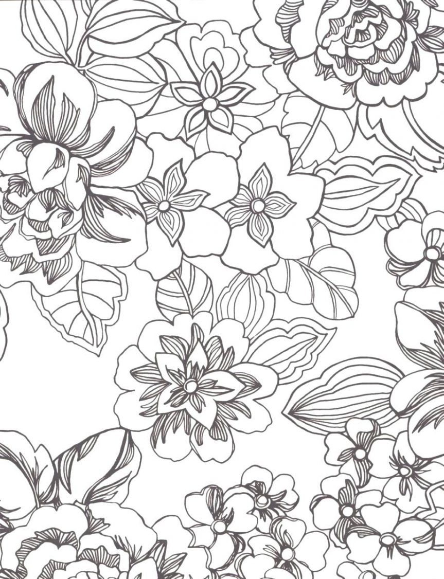 Flower Print Coloring Page for Adults