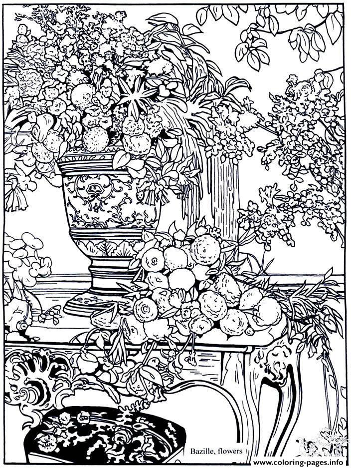 Flower Scene Coloring Pages for Adults