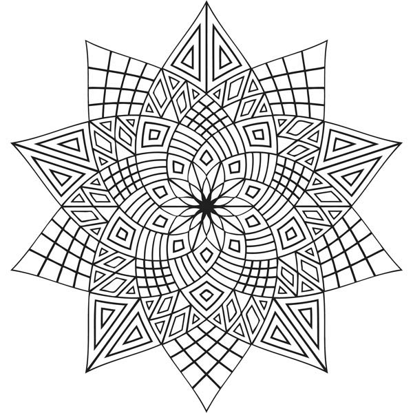 Flower Shaped Repeating Pattern Mandala to Color