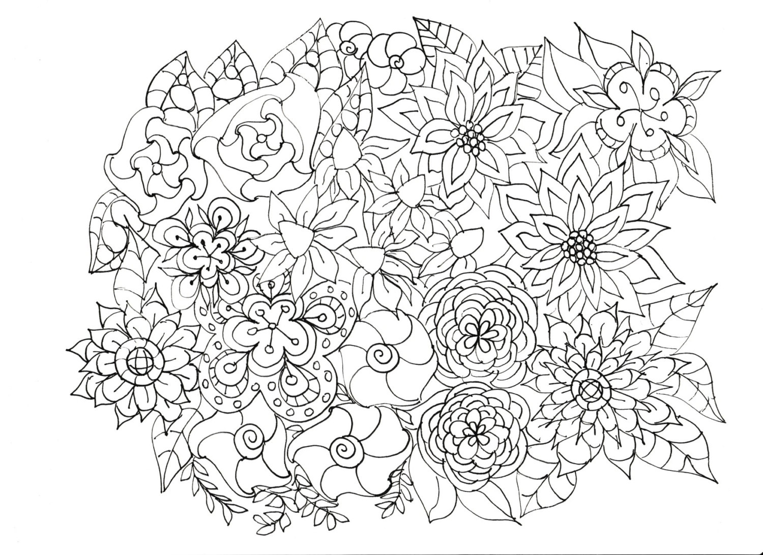 Flower Coloring Pages for Adults – coloring.rocks!