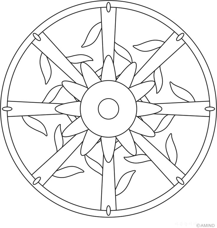 Flower Stems Mandala Coloring Pages