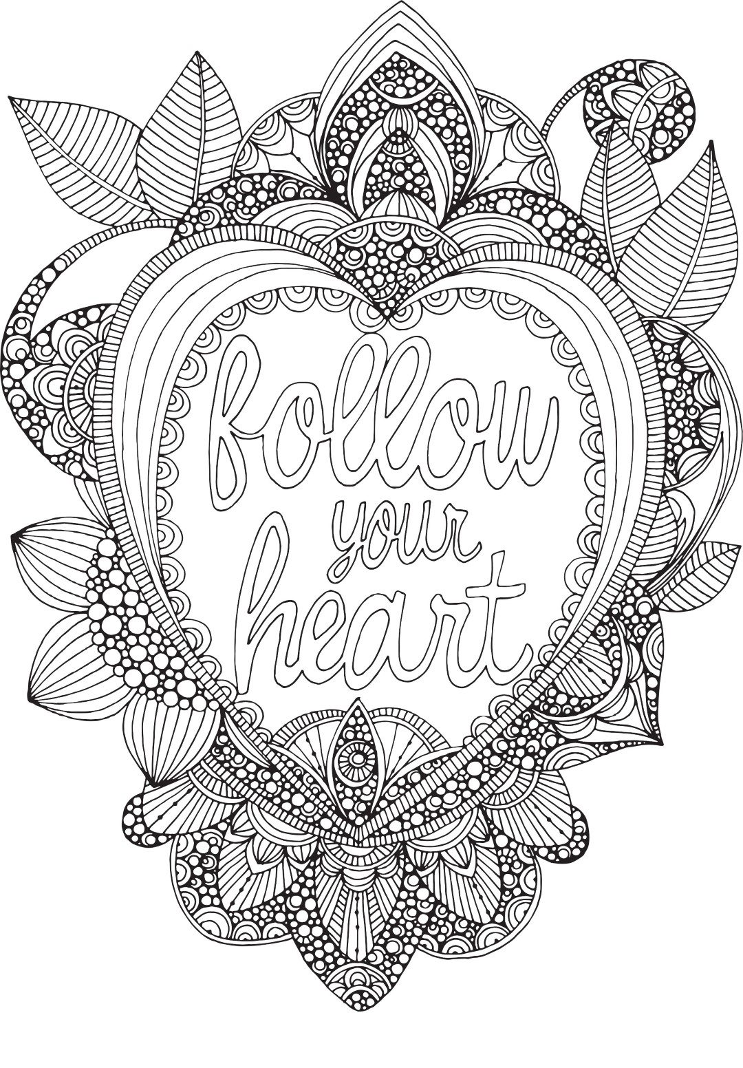Follow Your Heart Coloring Page for Adults