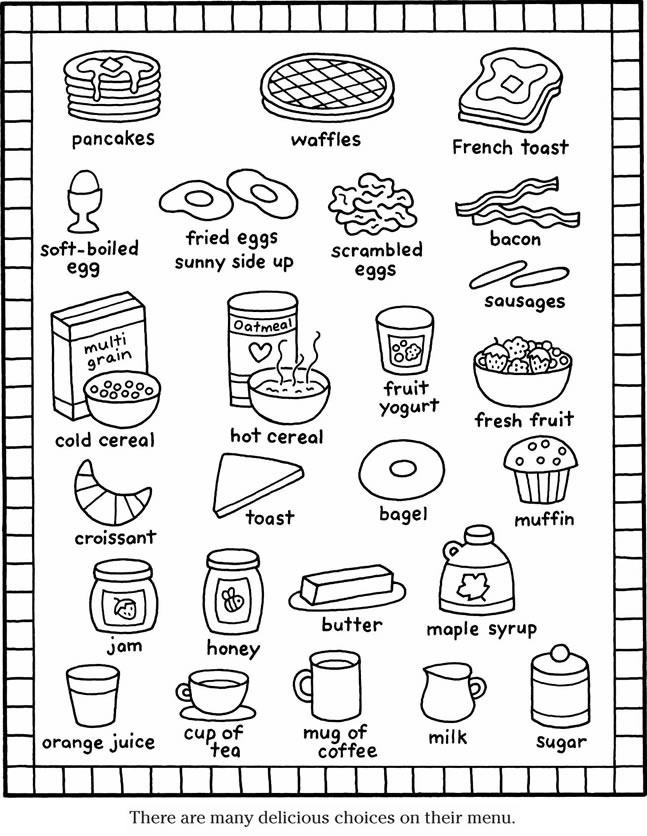 breakfast coloring sheets - Google Search | Free coloring pages ... | 836x647
