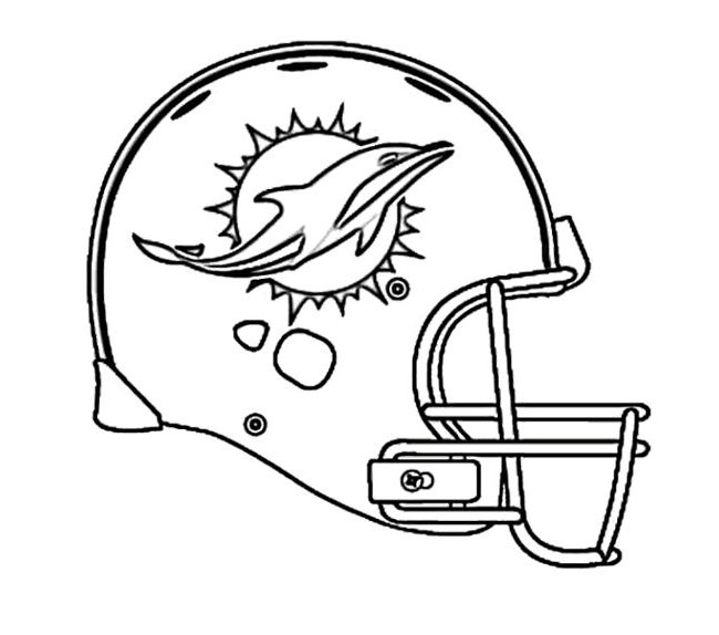 Football Helmet Coloring Pages - Miami Dolphins