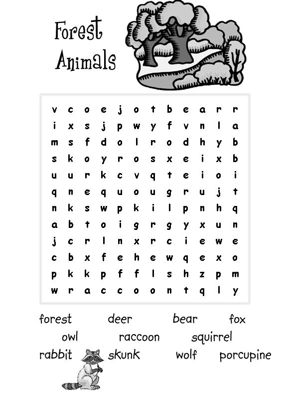 Forest Animals Word Search for Kids
