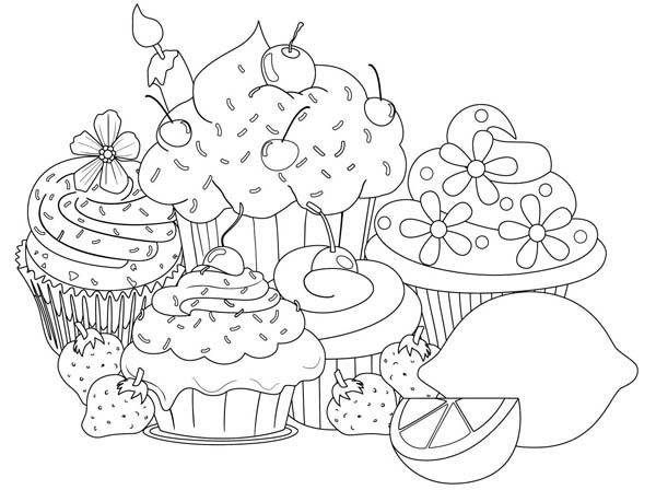 Clip Art, Free And - Birthday Cupcake Coloring Pages - Png ... | 448x600
