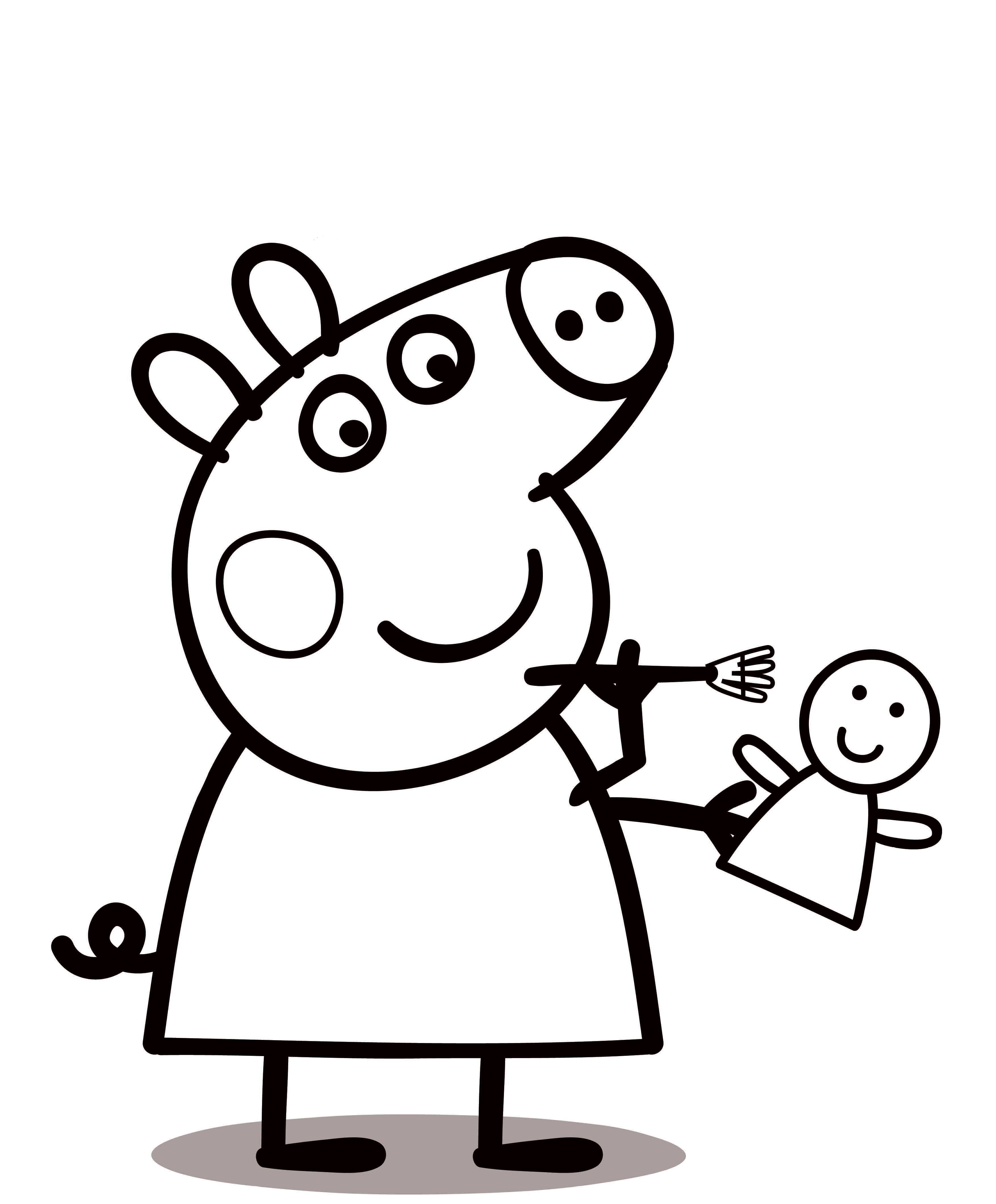 Free Peppa Pig and Doll Coloring Images